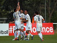 Auckland City's Emiliano Tade (20) celebrates making it 2-0 during the Oceania Football Championship final (second leg) football match between Team Wellington and Auckland City FC at David Farrington Park in Wellington, New Zealand on Sunday, 7 May 2017. Photo: Dave Lintott / lintottphoto.co.nz