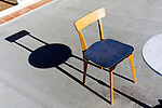 chair and round table with shadow