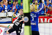 Maja Zrnec of Krim vs Katrine Lunde of Gyori during handball match between RK Krim Mercator and Gyori Audi ETO KC (HUN) in 3rd Round of Group B of EHF Women's Champions League 2012/13 on October 28, 2012 in Arena Stozice, Ljubljana, Slovenia. (Photo By Vid Ponikvar / Sportida)
