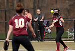 Waterbury, CT- 20 April 2017-042017CM06- Sacred Heart's Maddie Gendron throws to Vitoria Turrell for an out during their softball matchup against Holy Cross on Thursday.  Holy Cross would go onto win, 7-0.   Christopher Massa Republican-American