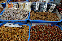Dry fruits for sale at a food market in Xi'an, Shaanxi, China.