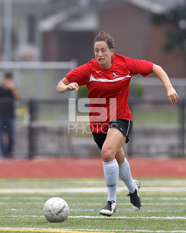 Aztec MA defender Jenna Roncarati (15) brings the ball forward. In a Women's Premier Soccer League (WPSL) match, Aztec MA defeated Seacoast United Phantoms, 4-0, at North Reading High School Stadium on July 7, 2012.