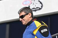 Feb. 17, 2013; Pomona, CA, USA; NHRA top fuel dragster driver Sidnei Frigo during the Winternationals at Auto Club Raceway at Pomona. Mandatory Credit: Mark J. Rebilas-