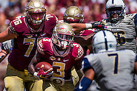TALLAHASSEE, FLA 9/10/16-Florida State's Derwin James runs against Charleston Southern during first quarter action Saturday at Doak Campbell Stadium in Tallahassee. <br /> COLIN HACKLEY PHOTO
