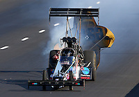 Jul. 20, 2013; Morrison, CO, USA: NHRA top fuel dragster driver Scott Palmer during qualifying for the Mile High Nationals at Bandimere Speedway. Mandatory Credit: Mark J. Rebilas-