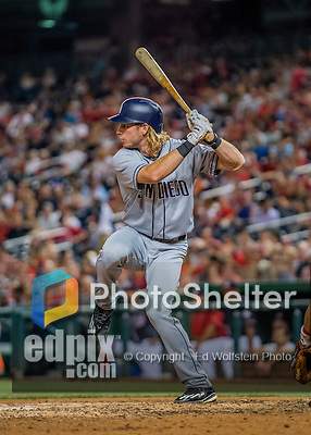 22 July 2016: San Diego Padres outfielder Travis Jankowski in action against the Washington Nationals at Nationals Park in Washington, DC. The Padres defeated the Nationals 5-3 to take the first game of their 3-game, weekend series. Mandatory Credit: Ed Wolfstein Photo *** RAW (NEF) Image File Available ***
