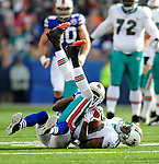 29 November 2009: Miami Dolphins' wide receiver Ted Ginn Jr. manages to receive a pass for a 7 yard gain but short of the first down against the Buffalo Bills at Ralph Wilson Stadium in Orchard Park, New York. The Bills defeated the Dolphins 31-14. Mandatory Credit: Ed Wolfstein Photo