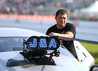 Apr 30, 2016; Baytown, TX, USA; NHRA pro mod driver Steven Whiteley during qualifying for the Spring Nationals at Royal Purple Raceway. Mandatory Credit: Mark J. Rebilas-USA TODAY Sports