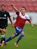 3. Fussball Bundesliga:  2. Spieltag    Saison   2012/2013   SpVgg Unterhaching  - FC Hansa Rostock   28.07.2012 Jubel nach dem Tor zum 2:0 Dominik Rohracker  (Unterhaching)