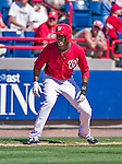 9 March 2014: Washington Nationals outfielder Michael Taylor takes a lead off third during a Spring Training game against the St. Louis Cardinals at Space Coast Stadium in Viera, Florida. The Nationals defeated the Cardinals 11-1 in Grapefruit League play. Mandatory Credit: Ed Wolfstein Photo *** RAW (NEF) Image File Available ***