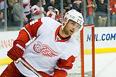 Jakub Kindl (Detroit Red Wings, #4) at warm up during ice-hockey match between Los Angeles Kings and Detroit Red Wings in NHL league, February 28, 2011 at Staples Center, Los Angeles, USA. (Photo By Matic Klansek Velej / Sportida.com)