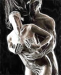 Beautiful abstract digital artwork of man and woman making love. Astral bodies. Flow of energy.