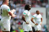 Marland Yarde of England looks on during a break in play. Old Mutual Wealth Cup International match between England and Wales on May 29, 2016 at Twickenham Stadium in London, England. Photo by: Patrick Khachfe / Onside Images
