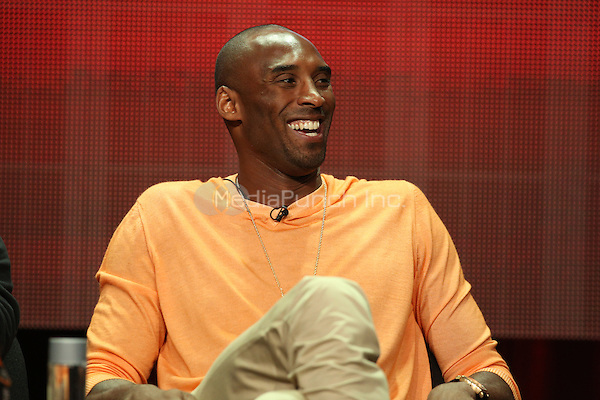"BEVERLY HILLS, CA - JULY 18:    Kobe Bryant speaks onstage during the ""Kobe's Muse"" portion of the Showtime Summer TCA Press Tour on July 18, 2014 in Los Angeles, Calif.  Credit: PGUnderwood/MediaPunch"