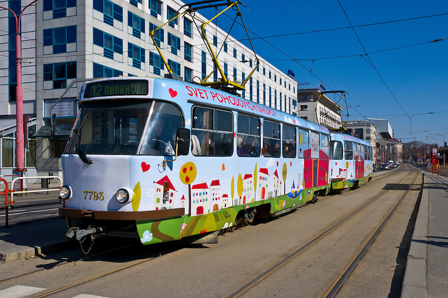 BRATISLAVA, SLOVAKIA - MARCH 7: Tramway in the street of Bratislava on March 7, 2011. Bratislava is the capital city of Slovakia and a mayor tourist destination.