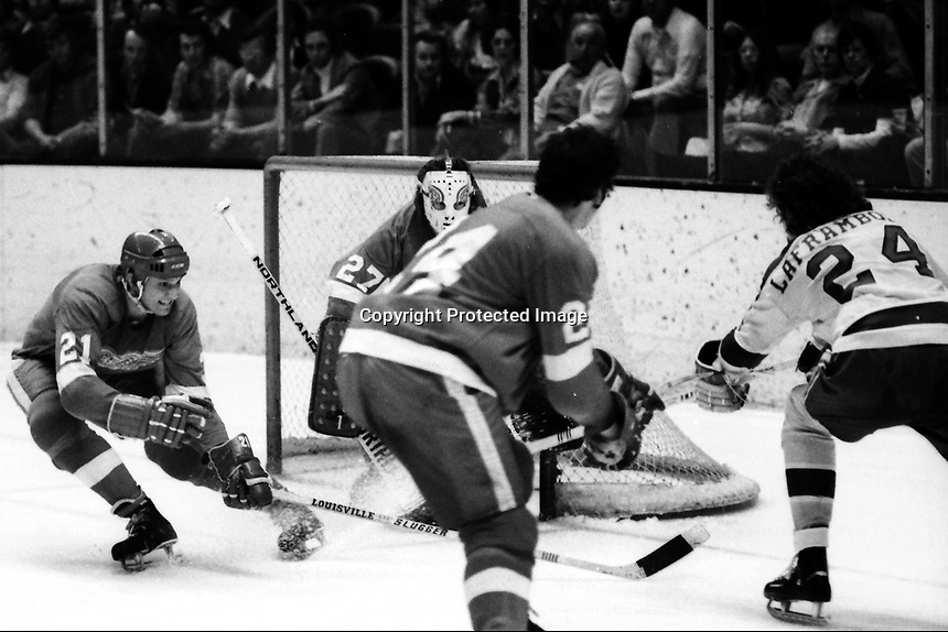 Seals vs Detroit Red Wings 1974. Wings Danny Grant, Rene Drolet, and goalie       Seals Peter Laframboise.<br />