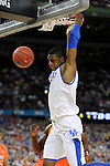 31 MAR 2012: Forward Terrance Jones (3) from the University of Kentucky dunks the ball during the Semifinal Game of the 2012 NCAA Men's Division I Basketball Championship Final Four held at the Mercedes-Benz Superdome hosted by Tulane University in New Orleans, LA. Ryan McKeee/ NCAA Photos.