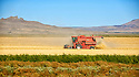 A farmer in Oregon harvests his fields on a sunny afternoon