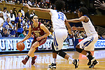 11 February 2016: Florida State's Leticia Romero (ESP) (10) is defended by Duke's Crystal Primm (13) and Kyra Lambert (right). The Duke University Blue Devils hosted the Florida State University Seminoles at Cameron Indoor Stadium in Durham, North Carolina in a 2015-16 NCAA Division I Women's Basketball game. Florida State won the game 69-53.