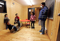 Children play in a activity room at a detox and wellness centre in Attawapiskat, which was used for emergency shelter for several families at the time. <br /> <br /> (Ian Stewart photo)
