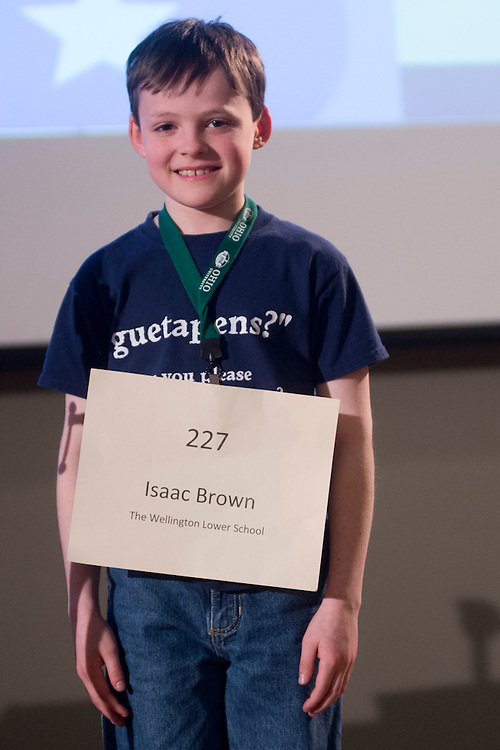 Isaac Brown of the Wellington Lower School introduces himself during the Columbus Metro Regional Spelling Bee Regional Saturday, March 16, 2013. The Regional Spelling Bee was sponsored by Ohio University's Scripps College of Communication and held in Margaret M. Walter Hall on OU's main campus.