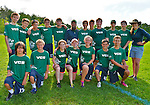 24 May 2014: The Vermont Commons School team pose for their team photo prior to competing in the Vermont High Schools, VYUL State Ultimate Disk Championships at the Tree Farm Recreational Facility in Essex Junction, Vermont. Mandatory Credit: Ed Wolfstein Photo