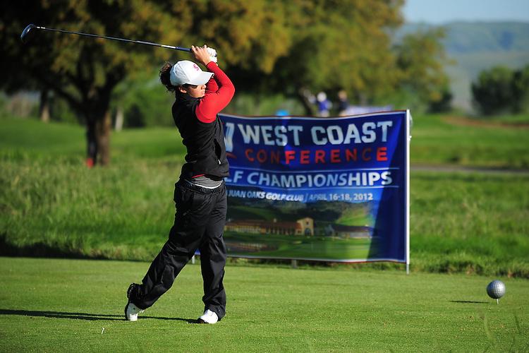 April 17, 2012; Hollister, CA, USA; Santa Clara Broncos golfer Tamara Surtees during the WCC Golf Championships at San Juan Oaks Golf Club.