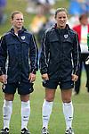 Lori Chalupny (l) and Cat Reddick (r), U.S. defenders, on Sunday June 26th, 2005, during an international friendly soccer match at Virginia Beach Sportsplex in Virginia Beach, Virginia. The United States won the game 2-0.