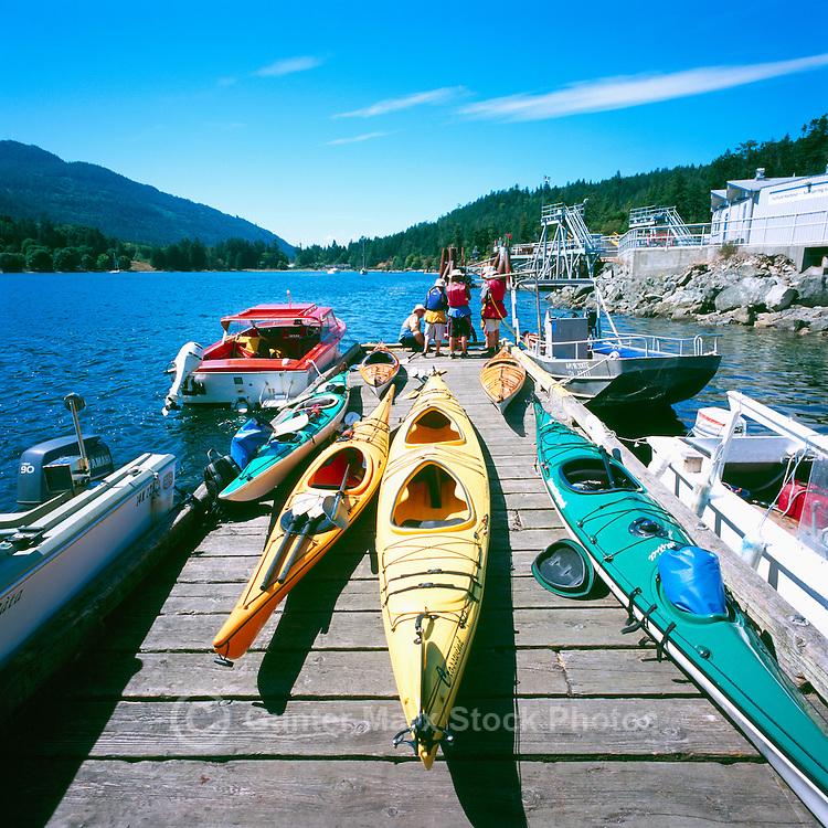 Fulford Harbour, Saltspring (Salt Spring) Island, Southern Gulf Islands, BC, British Columbia, Canada - Kayaks on Dock