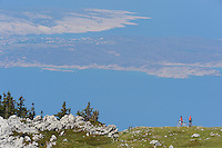 Bicyclists/mountain bikers in a long distance race with goal in Velebit, North Velebit National Park,  Velebit Nature Park, Rewilding Europe rewilding area, Velebit  mountains, Croatia