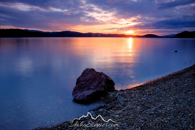 Idaho, North, Kootenai County, Coeur d'Alene. Sunset over Lake Coeur d'Alene from the North Shore in Spring.