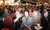 ***NO FEE PIC*** 28/01/2011 Crowds listen to Ryanair CEO Michael O' Leary at the Travel Clinic during the Holiday World Show in the RDS, Dublin. Photo: Gareth Chaney Collins
