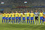 21 August 2008: Brazil's starters during player introductions. The United States Women's National Team defeated Brazil's Women's National Team 1-0 after extra time at the Worker's Stadium in Beijing, China in the Gold Medal match in the Women's Olympic Football tournament.