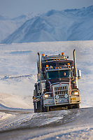Semi tractor trailer travels the James Dalton Highway near Toolik, Brooks range mountains, arctic, Alaska.