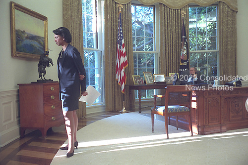 National Security Advisor Dr. Condoleezza Rice waits as United States President George W. Bush talks with Prime Minister Tony Blair of Great Britain from the Oval Office early morning, Wednesday, September 12, 2001..Mandatory Credit: Eric Draper - White House via CNP.
