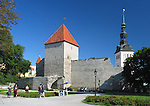 Town Wall and St. Nicholas Church Tower in Old Medieval Hansa Tallinn, Estonia