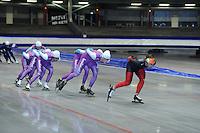 SCHAATSEN: HEERENVEEN: 16-06-2014, IJsstadion Thialf, Zomerijs training, Kai Verbij, Lennart Velema, Mark Tuitert, ©foto Martin de Jong