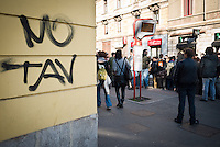 A text NoTav on wall during the parade people No Tav and No Expo, on February 22, 2014. Milan. Photo: Adamo Di Loreto/BuenaVista*photo