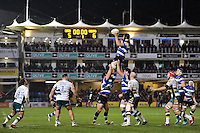 Charlie Ewels of Bath Rugby wins the ball at a lineout. Aviva Premiership match, between Bath Rugby and Northampton Saints on February 10, 2017 at the Recreation Ground in Bath, England. Photo by: Patrick Khachfe / Onside Images