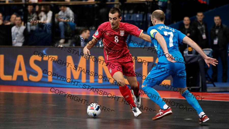 Marko Prsic  UEFA Euro 2016 Futsal Evropsko Prvenstvo, Srbija - Slovenija 2.2.1016. Februar 2. 2016. (credit image & photo: Pedja Milosavljevic / STARSPORT) total
