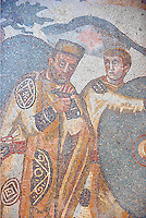 Mosiac of Emperor Maximianus from the Ambulatory of The Great Hunt, room no 28,  at the Villa Romana del Casale which containis the richest, largest and most complex collection of Roman mosaics in the world. Constructed in the first quarter of the 4th century AD. Sicily, Italy. A UNESCO World Heritage Site.