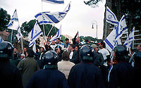 Roma 15 Aprile 2002.Israele Day.Manifestazione per lo stato di Israele in piazza del Campidoglio.Manifestanti della comunità ebraica di Roma manifestano contro i palestinesi presenti in piazza Venezia.