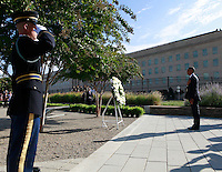 WASHINGTON DC - SEPTEMBER 11: United States President Barack Obama lays a wreath at the Pentagon Memorial in Washington, DC during an observance ceremony to commemorate the 15th anniversary of the 9/11 terrorist attacks, Sunday, September 11, 2016. <br /> Credit: Dennis Brack / Pool via CNP/MediaPunch