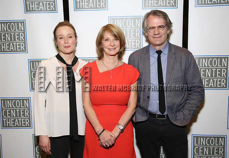 Jennifer Ehle, Mona Juul and Bartlett Sher attend the Opening Night Performance press reception for the Lincoln Center Theater production of 'Oslo' at the Vivian Beaumont Theater on April 13, 2017 in New York City.