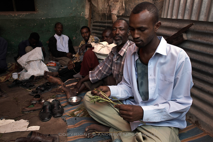 Khat chewers in Hargeisa, Somaliland. Khat is a national addiction in Somaliland and the source of many of the socioeconomic problems effecting the country..