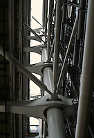 Renzo Piano and Richard Rogers: Centre Pompidou, Paris. Looking up west facade.