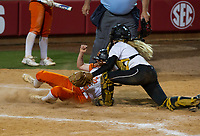 NWA Democrat-Gazette/ANTHONY REYES @NWATONYR<br /> Halley Cain (3) Pottsville, makes the tag on Brittany Hilliard (6) of Nashville at the plate Friday, May 19, 2017 in the 4A State Softball Championship at Bogle Park in Fayetteville. Pottsville won 11-3.