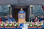 Laura Chinchilla Miranda, President of Costa Rica, delivers remarks on Healy lawn at Commencement.