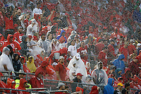 Ohio State Buckeyes fans cheer in the rain after a Buckeye touchdown in the 2nd quarter against Tulsa Golden Hurricane at Ohio Stadium in Columbus, Ohio on September 10, 2016.  (Kyle Robertson / The Columbus Dispatch)