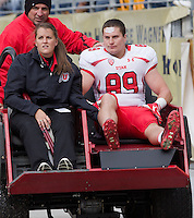 Utah tight end Dallin Rogers (89) is carted off the field due to injury.The Utah Utes defeated the Pitt Panthers 26-14 at Heinz Field, Pittsburgh, Pennsylvania on October 15, 2011.